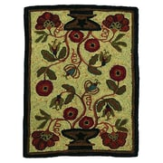 Homespice Decor Hooked Potted Flower Area Rug; 2' x 3'