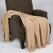BOON Throw & Blanket Tweed Knitted Throw Blanket; Light Camel