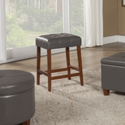 HomePop 24'' Bar Stool with Cushion; Charcoal Gray