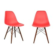 eModern Decor Shell Side Chair (Set of 2); Red