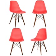 eModern Decor Shell Matte Side Chair (Set of 4); Red