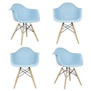 eModern Decor Mid Century Modern Scandinavian Arm Chair (Set of 4); Light Blue