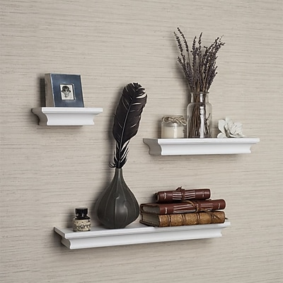 DanyaB Cornice 3 Piece Ledge Floating Shelf Set; White