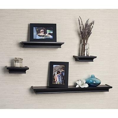 DanyaB Cornice 4 Piece Floating Shelf Set; Black