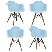 eModern Decor Scandinavian Arm Chair (Set of 4); Light Blue