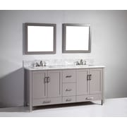 Legion Furniture 72'' Soild Wood Double Sink Vanity Set with Mirror; Light Gray