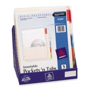 AVERY-DENNISON Pocket Dividers, 5-Tab, Punched, 8-1/2''x11'', 36 Sets, Buff