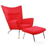 Kardiel Wing Arm Chair with Ottoman; Red