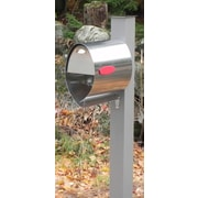 Spira Mailbox Post Mounted Mailbox with Flat Cap; Silver Gray