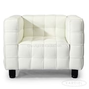 Kardiel Kubus Mid Century Modern Leather Guest Chair; Arctic White