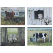 Creative Co-Op Casual Country Barn Animal by Ruth Lorentzen 4 Piece Painting Print Plaque Set