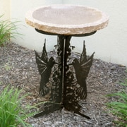 Stone Age Creations Hummingbird Silhouette Birdbath; Gold