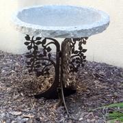 Stone Age Creations Tree Silhouette Birdbath; Charcoal