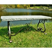 Stone Age Creations Melody Granite Park Bench; Charcoal Granite