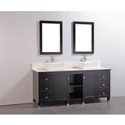 Legion Furniture 72'' Double Solid Wood Bathroom Vanity Set with Mirror; White
