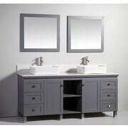Legion Furniture 72'' Double Solid Wood Bathroom Vanity Set with Mirror; Dark Gray