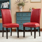 Roundhill Furniture Donatello Parsons Chair (Set of 2); Red