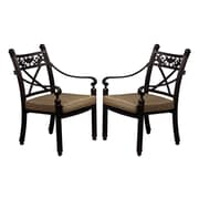 California Outdoor Designs Baldwin Stacking Dining Arm Chairs with Cushion (Set of 2)