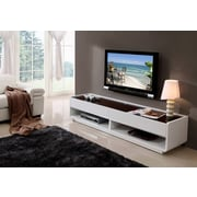 B-Modern TV Stand; High Gloss White with Black Glass Top