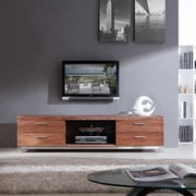 B-Modern Promoter TV Stand; Light Walnut and Polished Stainless Steel