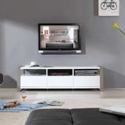 B-Modern Stylist TV Stand; White High Gloss and Brushed Stainless Steel