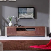 B-Modern Composer TV Stand; Light Walnut and Polished Stainless Steel