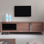 B-Modern Entertainer TV Stand; Walnut & Stainless Steel