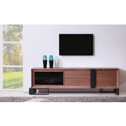 B-Modern Entertainer TV Stand; Walnut & Black Steel