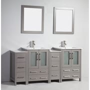 Legion Furniture 72'' Double Solid Wood Bathroom Vanity Set with Mirror