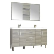 Alya Bath Ripley 56'' Double Modern Bathroom Vanity Set w/ Mirror; Gray