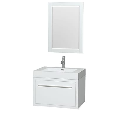 Wyndham Collection Axa 30'' Single Bathroom Vanity Set with Mirror; Glossy White