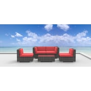 Urban Furnishings Rio 5 Piece Deep Seating Group with Cushion; Coral Red