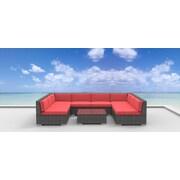 Urban Furnishings Tahiti 9 Piece Deep Seating Group with Cushion; Coral Red