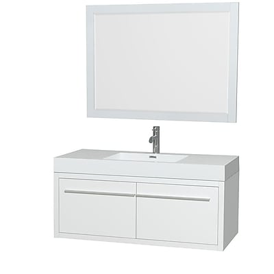 Wyndham Collection Axa 48'' Single Bathroom Vanity Set with Mirror; Glossy White