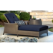 Hanover Gramercy Chaise Lounge & Table with Cushions; Navy Blue