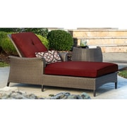Hanover Gramercy Chaise Lounge & Table with Cushions; Red