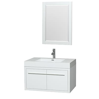 Wyndham Collection Axa 36'' Single Bathroom Vanity Set with Mirror; Glossy White