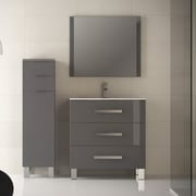 Eviva Libra  31.5'' Single Modern Bathroom Vanity Set with Mirror; Gray