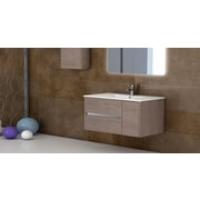 Eviva Aries  39'' Single Modern Bathroom Vanity Set with Mirror; Medium Oak