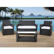 Beliani Sorrento Wicker Garden Furniture 4 Piece Deep Seating Group with Cushion