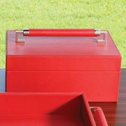 Global Views Wrapped Leather Handle Box; Crimson
