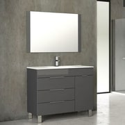 Eviva Geminis  39'' Single Modern Bathroom Vanity Set with Mirror; Gray