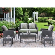 Hanover Chelsea 6-Piece Space-Saving Patio Set with Cushion; Cilantro Green