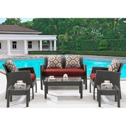 Hanover Chelsea 6-Piece Space-Saving Patio Set with Cushion; Crimson Red