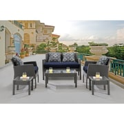 Hanover Chelsea 6-Piece Space-Saving Patio Set with Cushion; Navy Blue