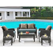 Hanover Chelsea 6-Piece Space-Saving Patio Set with Cushion; Ocean Blue