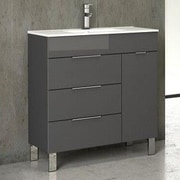 Eviva Geminis  28'' Single Modern Bathroom Vanity Set with Mirror; Gray