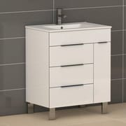 Eviva Geminis  28'' Single Modern Bathroom Vanity Set with Mirror; White