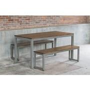 Elan Furniture Loft 3 Piece Dining Set; Chocolate / Warehouse Metal
