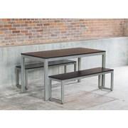 Elan Furniture Loft 3 Piece Dining Set; Onyx / Warehouse Metal